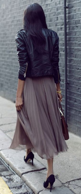 Leather jacket + maxi skirt. We love this combo for a night out on the town.