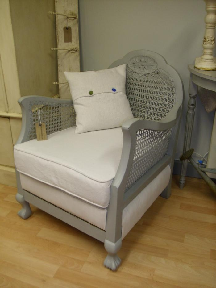 Love this painted chair with cane back and white linen cushions - Painted country interiors | Shabby Chic Annie Sloan Paint Workshops Vintage furnit