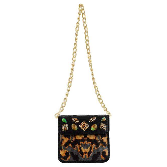 Christian Audigier Julie Chain Link Mini Handbag – Black