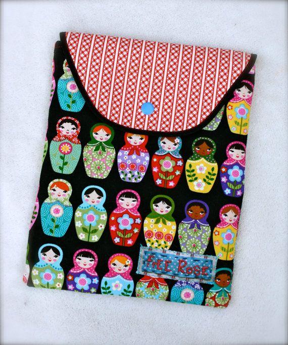 Russian Doll iPad or Tablet case handmade by www.FreeRoseStudio.com