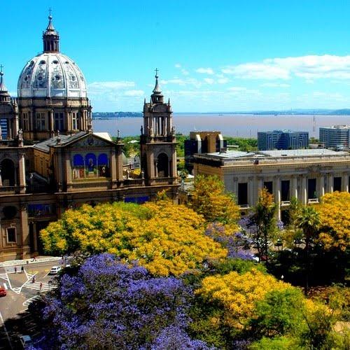 Catedral Metropolitana, Palácio Piratini, Árvores da Praça XV e Lago Guaíba ao fundo - Porto Alegre , Rio Grande Do Sul