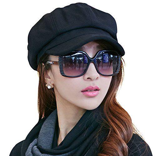Ambysun Ladies Newsboy Cabbie Beret Cap Bakerboy Visor Peaked Winter Ivy  Flat Hat for Women 98dddf951807
