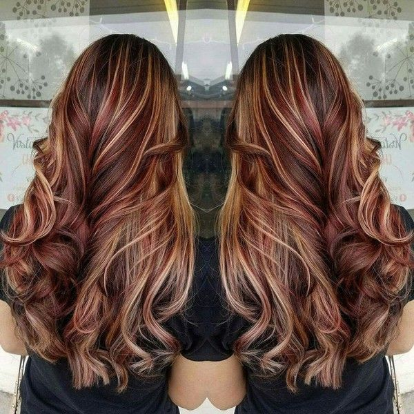 60 Brilliant Brown Hair With Red Highlights Liked On Polyvore Featuring Accessorie Red Highlights In Brown Hair Brown Hair With Blonde Highlights Hair Styles
