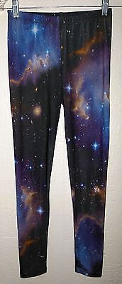 NEBULA SPACE LEGGINGS S geek galaxy punk hipster yoga dance stars nasty gal nwot