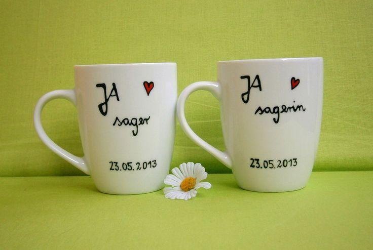Hochzeit ★ JA - sager ★ Tassen im Set von hochdietassen auf DaWanda.com Geschirr zur Hochzeit