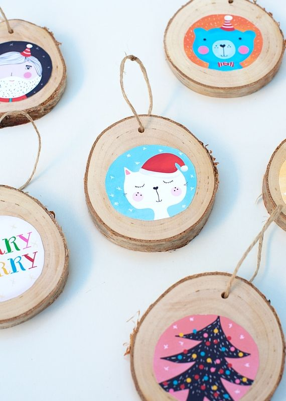 advent diy...illlustrated birch ornaments...