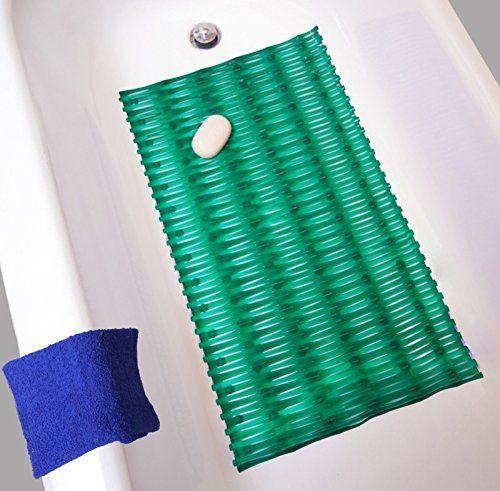 #Vibrant #Premium Rattan Bath Mat Rectangle - Gentle Soft Kid Friendly Shower (Emerald Green) #M762