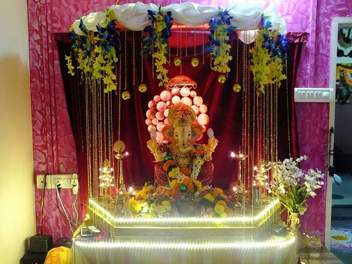 Ganapati makhar ganapati decorations pinterest for Artificial flower decoration for ganpati