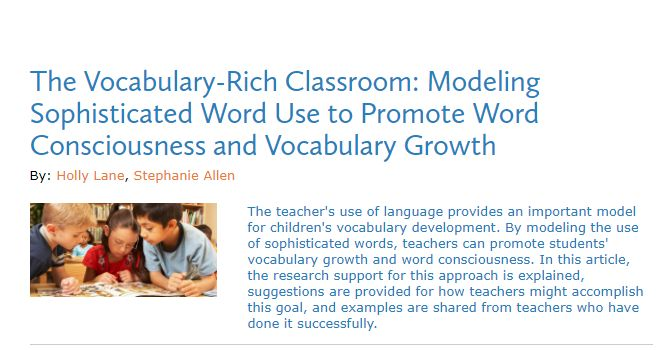 Understanding: Lane and Allen's article supported my knowledge of vocabulary.  It provided me with insight into how diverse children's vocabulary could be in a classroom.  Every child may be at a different level in their ability to know and learn words, particularly SES children, who may come to school with less vocabulary then their peers. Creating a vocabulary-enriched classroom is important not only in helping teachers close this gap, but also increase their knowledge and love of words.