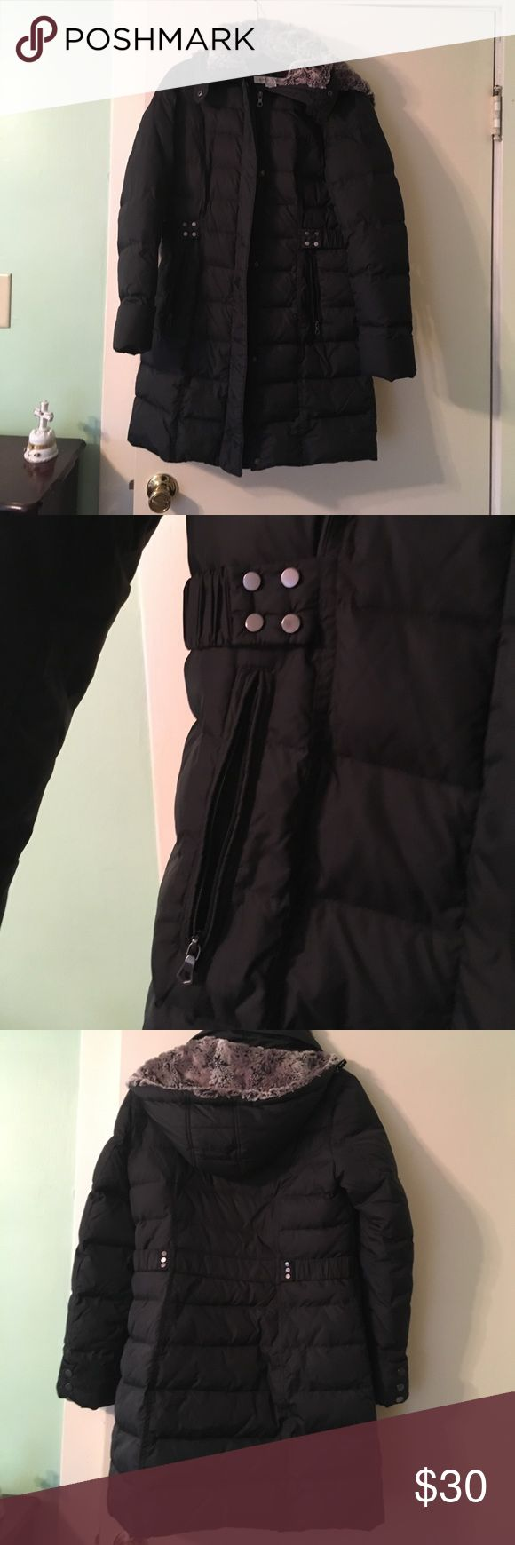 Mid length puffer coat Great light weight warm puffer jacket.  Hardly been warm. Soft faux fur hood is detachable.  It is filled with 60% down and 40% waterfowl.  All zippers are fully functioning.  Great condition.  Worn maybe twice. It was a little too narrow in the hips for me. Larry Levine Jackets & Coats Puffers
