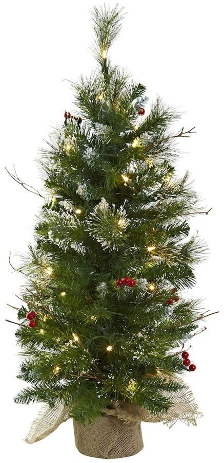 nearly natural 3 ft pre lit berries artificial christmas tree - 3 Ft Christmas Tree