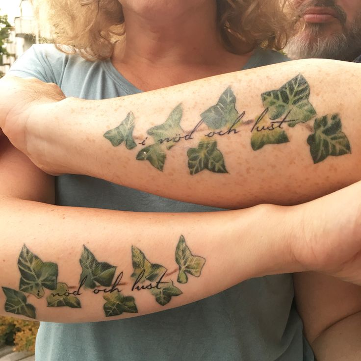 "15:th wedding anniversary tattoos: ivy + ""in sickness and in health"" (""i nöd och lust"" in swedish) By Annicka Westerlund at PMS tattoo, Tungelsta, Sweden"