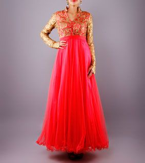 Gold & Coral Red Embroidered Net & Silk Anarkali