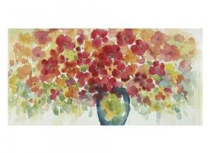 Cuadro jarrón flores sobre lienzo
