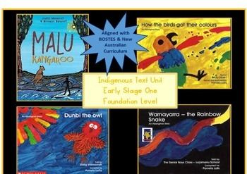 Indigenous Text Unit Early Stage One Foundation Level. Teaching ideas and experiences for Aboriginal Dreaming Stories: Malu Kangaroo, How the Birds got their colours; Dunbi the owl and Warnayarra - the Rainbow Snake. Ideal for NAIDOC activities. Available at my TpT store, Learning for Littlies. https://www.teacherspayteachers.com/Product/Indigenous-Text-Unit-Early-Stage-One-1811274
