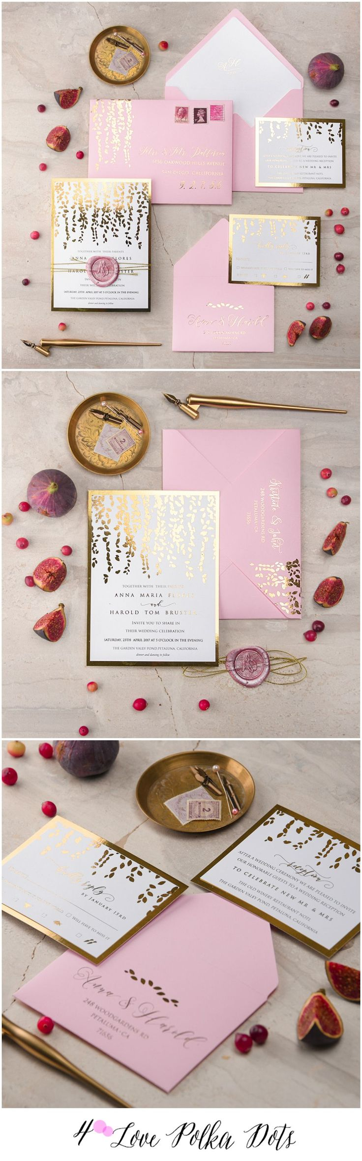 Pink & Gold shiny wedding invitations with gold foil and a wax stamp