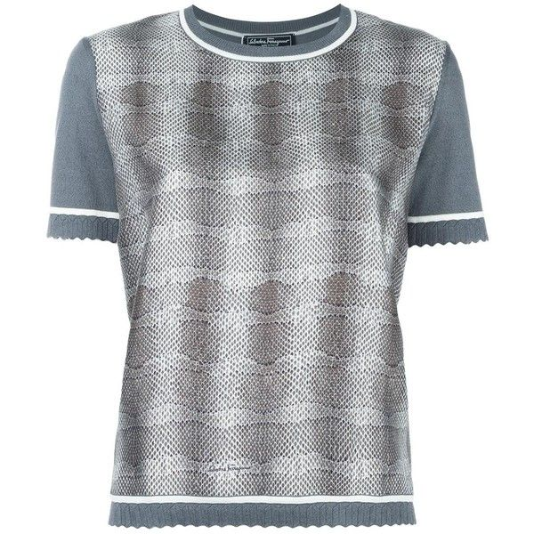 Salvatore Ferragamo striped snake effect sweater ($665) ❤ liked on Polyvore featuring tops, sweaters, grey, gray sweater, print top, short sleeve tops, grey short sleeve sweater and striped top