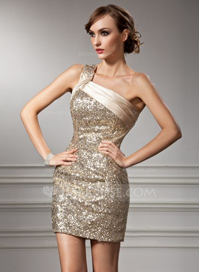 Cocktail Dresses - $144.49 - Sheath One-Shoulder Short/Mini Charmeuse Sequined Cocktail Dress With Ruffle (016008367) http://jjshouse.com/Sheath-One-Shoulder-Short-Mini-Charmeuse-Sequined-Cocktail-Dress-With-Ruffle-016008367-g8367?pos=your_recent_history_10