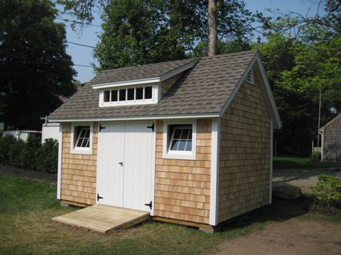 10 x 14 shed with 5 39 transom dormer and cedar shake for Cedar shingle shed