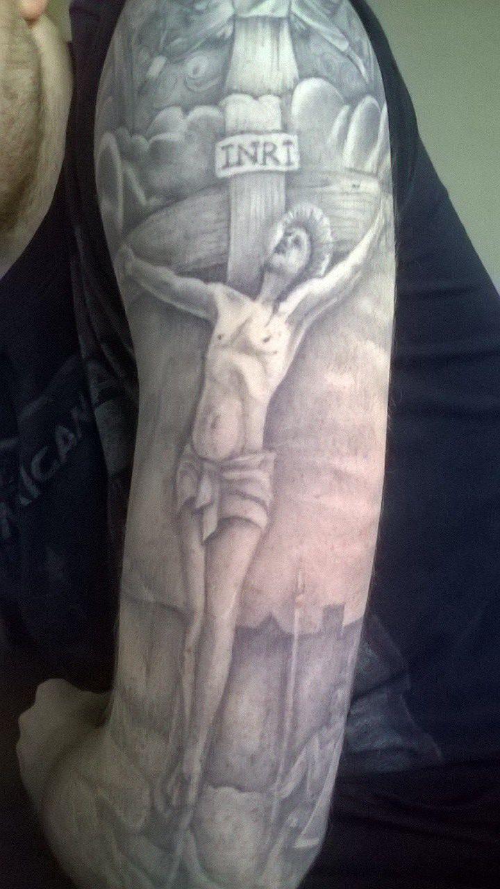 #religious #tattoo #sleeve #halfsleeve #black #grey #blackandgrey  Had a…