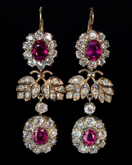 Russian Royalty Diamonds and Rubies Floral Pendant Earrings