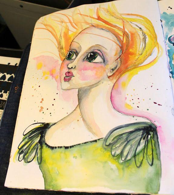 Aromaattista arkea askarrellen : Eräänä tuulisena päivänä Artjournal: One windy day... watercolor painting