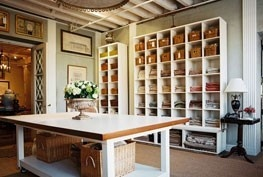 Love the tall storage that makes use of all that wall space and, of course, the large table with storage underneath.
