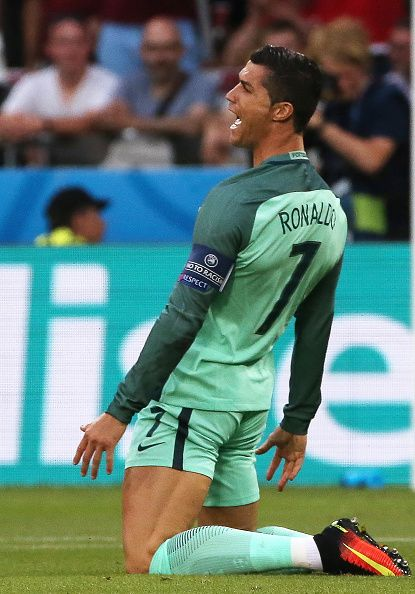#EURO2016 Portugal's Cristiano Ronaldo during the 2016 UEFA European Football Championship semifinal match against Wales at Stade de Lyon Alexander...