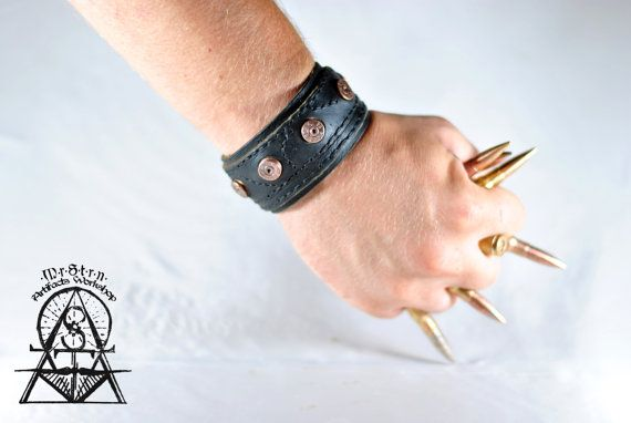 Yuft leather bracelet with the real German 7.92 caliber bullets, found on the Panther Wotan line of defense near Kiev. These artifacts are 80 years old.
