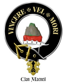 """Motto of Clan MacNeil (in Latin): """"Conquer or Die,"""" is a boulder sitting on a chapeau (hat) indicating that one must be the strongest or the biggest, mightiest rock. The belt circles around the outside, just as the belt circles the waist to help pleat and hold up the kilt."""