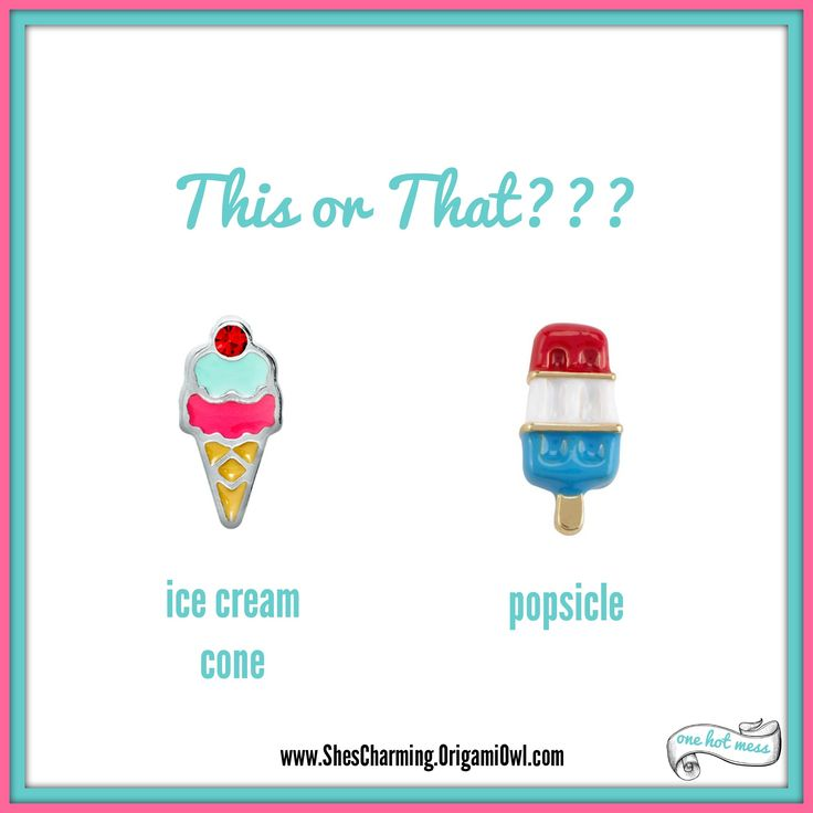 Origami Owl charms This or That. Ice cream cone charm. Popsicle charm. Origami Owl games. Click on pin to shop on my Facebook page!