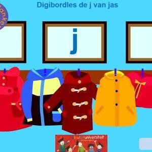 Digibordles-j-klank De j van jas staat centraal in deze les. Het is een korte les met twee vraagstellingen: waar hoor je de j van jas vooraan / als eerste / aan het begin? waar hoor je niet j van jas vooraan / als eerste / aan het begin?