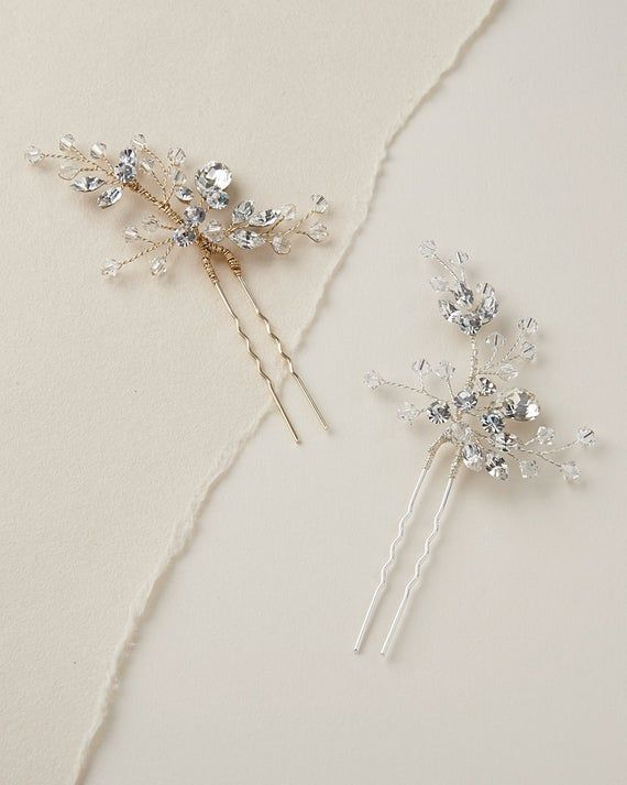 Silver Swarovski Crystal Bridal Hair Pin,Wedding Hair Pin, Silver Bridal Hair Accessory, Hair Pins for Wedding, Bridal Hairpiece – TP-7091