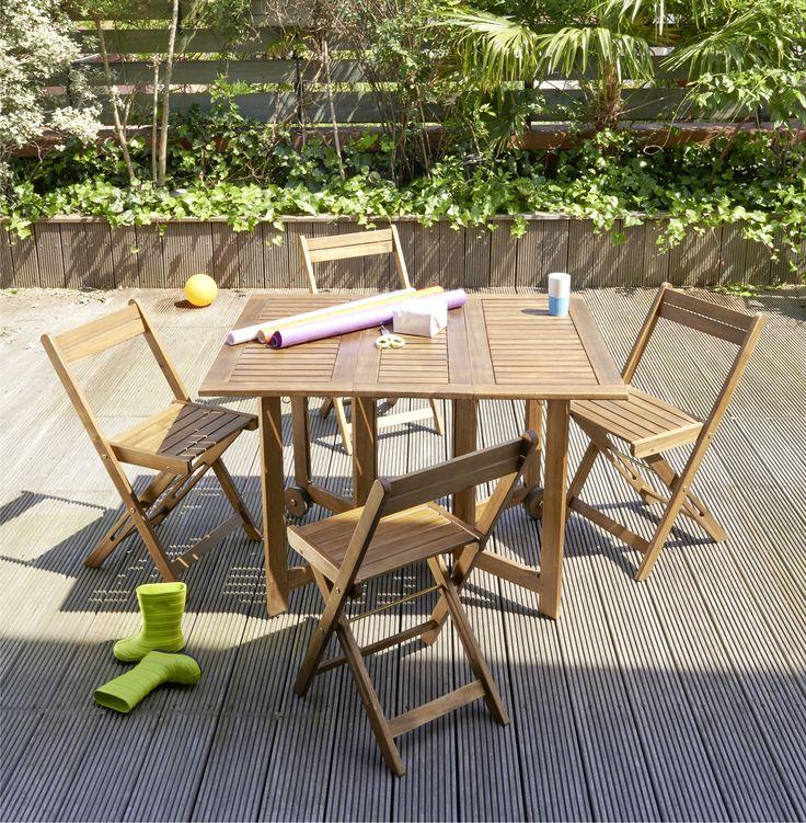 Table extérieure de 4 personnes en bois d\'acacia- Chaise pliante ...