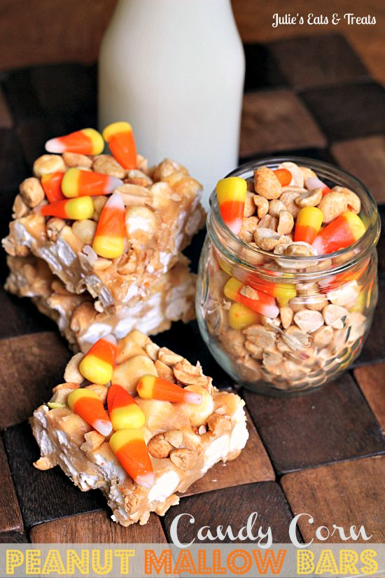 Candy Corn Peanut Mallow Bars ~ Loaded with peanuts, marshmallows and candy corn the perfect combo of sweet and salty! via www.julieseatsand...
