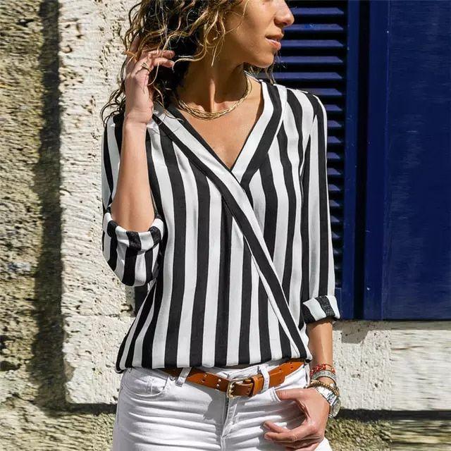 Mulheres Camisa Listrada Blusa Blusa de Manga Longa Com Decote Em V Camisas Casual Tops Blusa Chemisier Femme et Blusas mujer de Mo… | papéis de parede de 2019 | Camisas casuais, Blusas e Roupas listradas