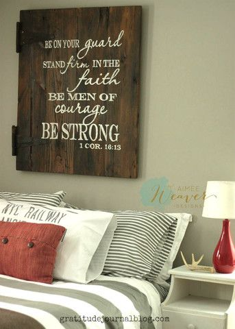 Be on your guard, stand firm in the faith, be men of courage, be strong | Wood Sign | sign for boys room | boys room art