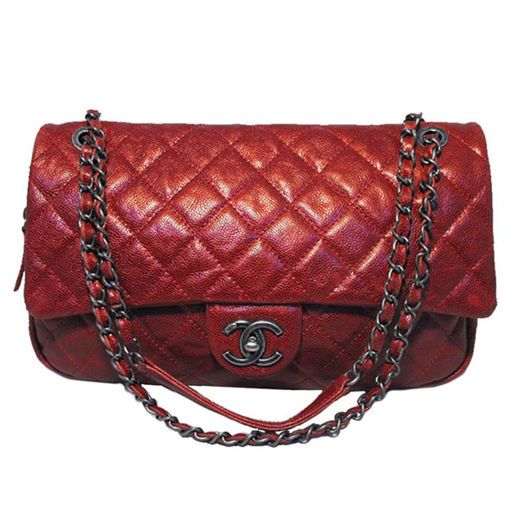 Chanel Metallic Red Quilted Caviar Classic Shoulder Bag | From a collection of rare vintage handbags and purses at https://www.1stdibs.com/fashion/accessories/handbags-purses/