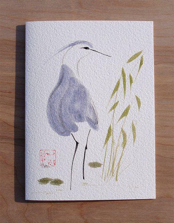 Blue Heron Chinese Brush Sumi-e Watercolor by KelliMcNicholsArt