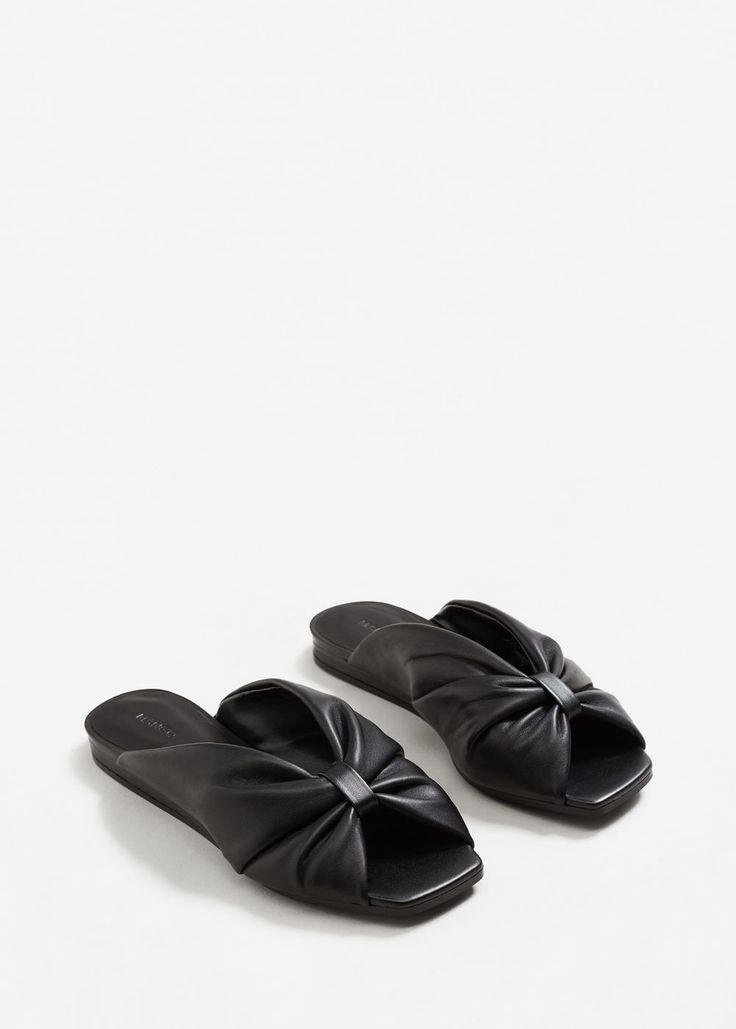 Skórzane sandały z kokardą - Buty dla Kobieta | MANGO Polska