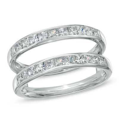 1 CT. T.W. Princess-Cut Diamond Solitaire Enhancer in 14K White Gold... wedding band!