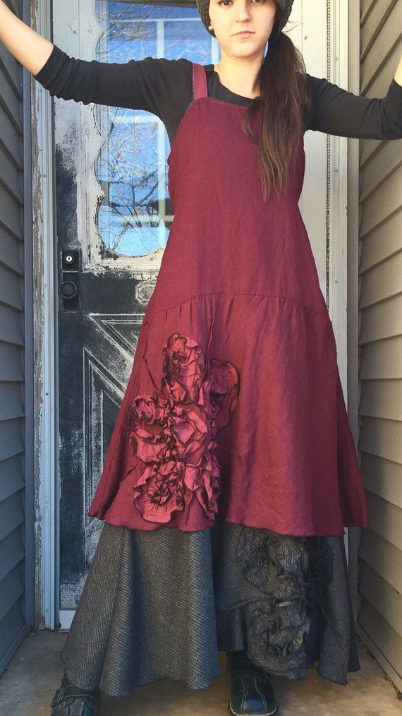 Lightweight dark berry linen in a Bias Flower Dress. Flower is made in a slightly lighter color- my cherry I use often. Bias flounce bottom.