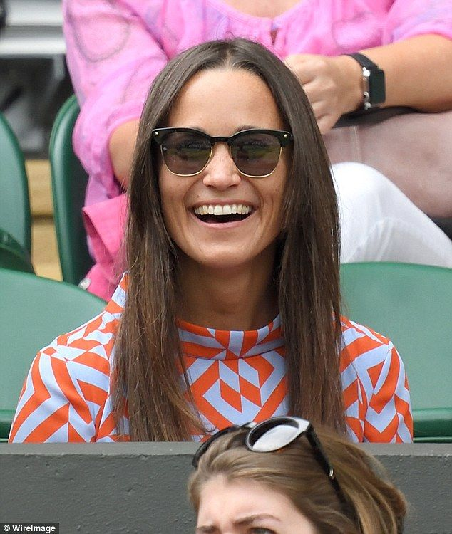 Tennis fan Pippa was certainly making the most of her day out and looked in great spirits...