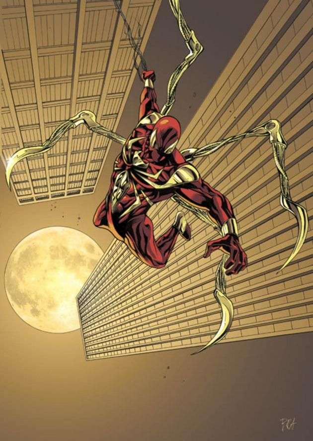#6 Iron Spider  Cortesía de Tony Stark en la ficción y del artista Ron Garney en la vida real. Este traje hizo su debut durante el evento de Civil War en el año 2006.  La idea de esta vestimenta fue la de otorgarle a Spidey habilidades adicionales: tentáculos retráctiles, filtro de aire y lentes ópticos.