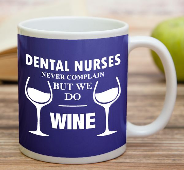 """Dental Nurses Never Complain But We Do Wine""    ""Bride In Training""    High quality 11 oz ceramic mugs, microwave and dishwasher safe.   Delivery.  All mugs are custom printed within 2-3 working days and delivered within 3-5 working days.  Express delivery costs $4.95 for the first item or if buying 2 or more items delivery is FREE!"
