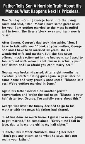 Father Tells Son A Horrible Truth About His Mother What Happens Next Is Hilarious funny jokes story lol funny quote funny quotes funny sayings joke hilarious humor stories marriage humor funny jokes