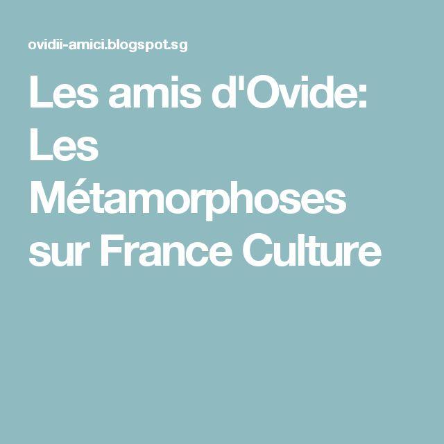 Les amis d'Ovide: Les Métamorphoses sur France Culture