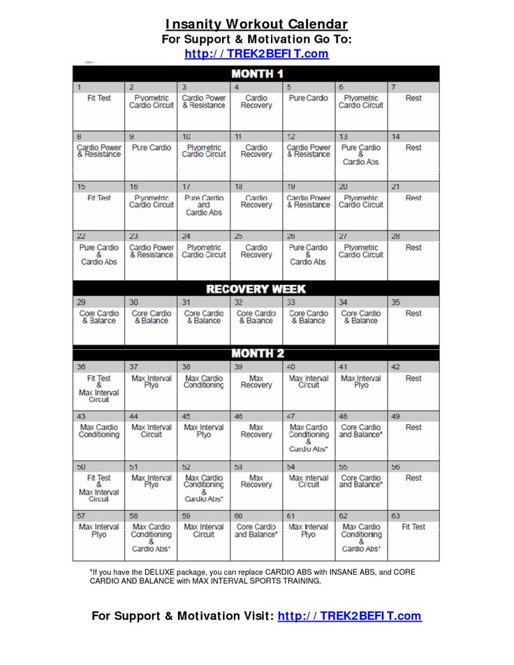 Insanity Workout Calendar. Ordered 2 weeks ago for my boyfriend and I. Workouts are crazy and a couple make me want to cry as i'm pushing myself to the limits. Already seeing results. Have more energy in the morning, and feel better about myself already. Would recommend this program! Makes you sweat within the first 5 minutes of warming up and you feel great afterwards! (TessYara)