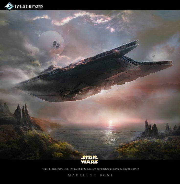Work for Star Wars-The Card Game. TIE Fighters flies in formation against the backdrop of the first Death Star. Art Director, Zoë Robinson Lucasfilm and Fantasy Flight Games all rights reserve...