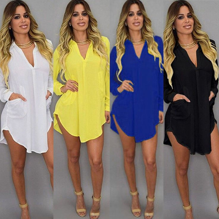 Plus Size Summer Womens Casual Loose Long Sleeve Chiffon Shirt Blouse Tops Dress